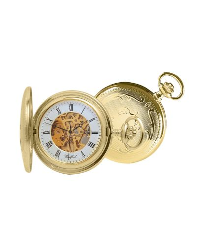 Mechanical Gold Plated Patterned Skeleton Dial Pocket Watch With Chain